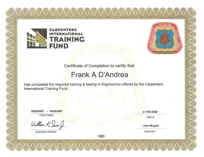 Big White Dog Construction Certificates Frank Dandrea